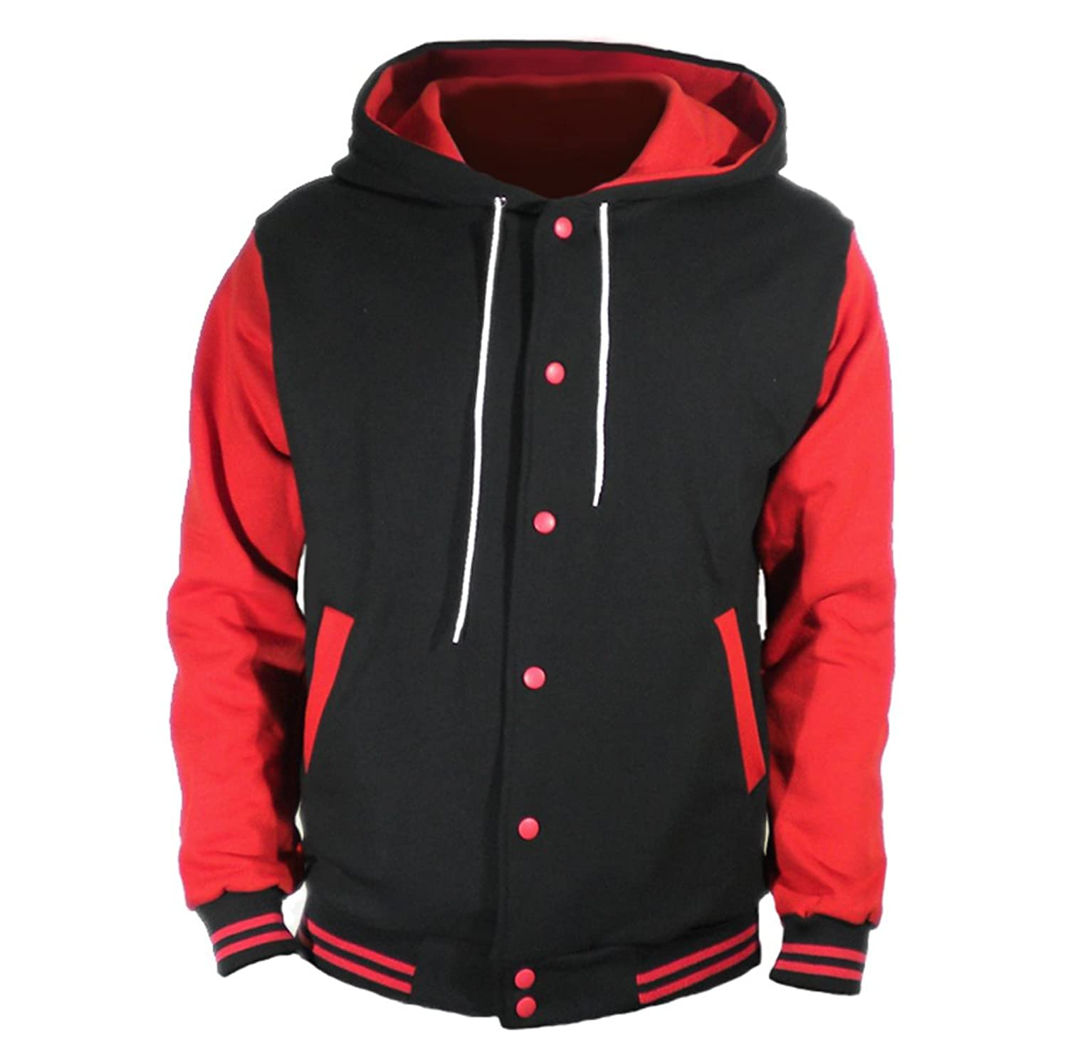 U World Men's Cotton Hoodie Varsity Baseball Jacket Red at Amazon ...