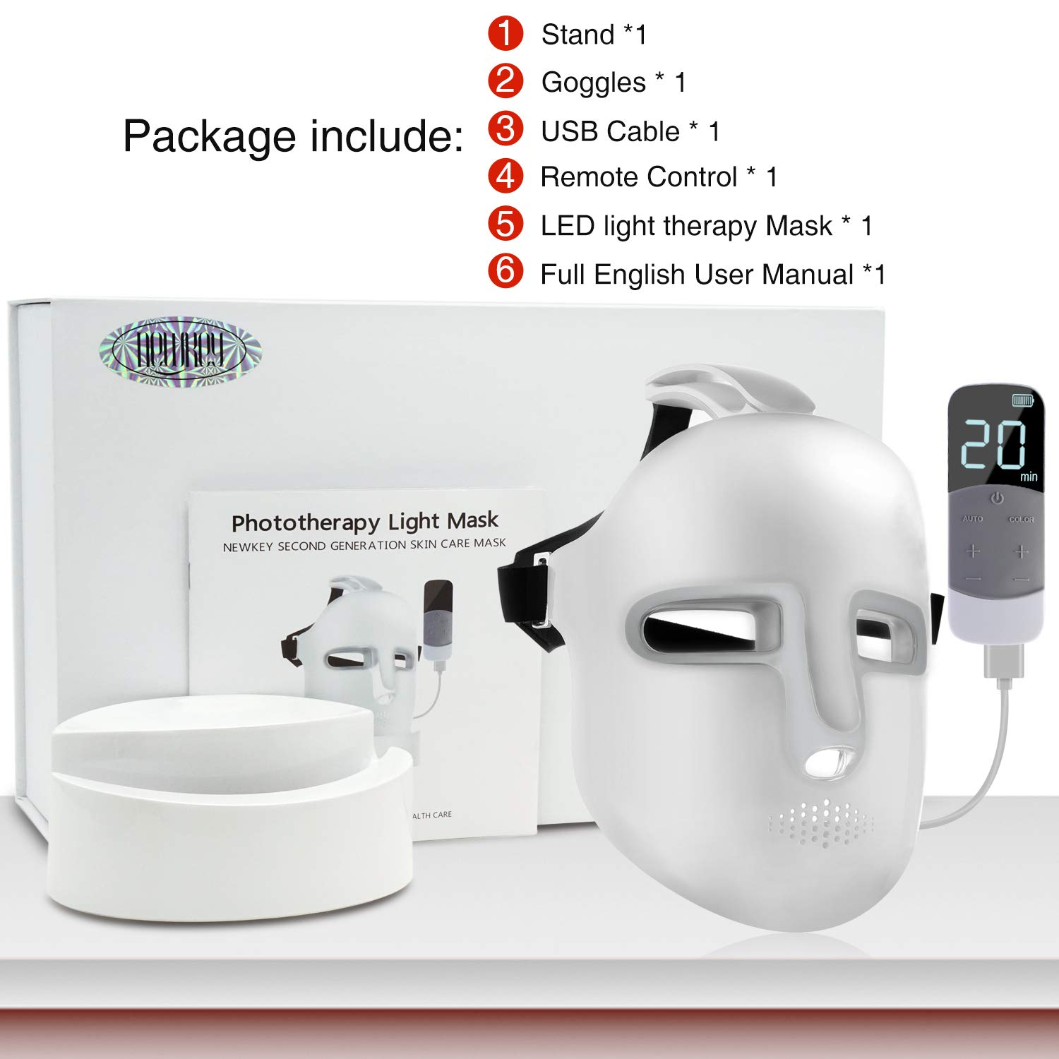NEWKEY Led Light Therapy Facial Mask - Uses Newest Red/Blue/Yellow Light Therapy For Skin Rejuvenation|Whitening|Anti Aging|Smoothening Wrinkles|Weakening Scarring|Lighter Weight and More Comfortable by NEWKEY (Image #8)