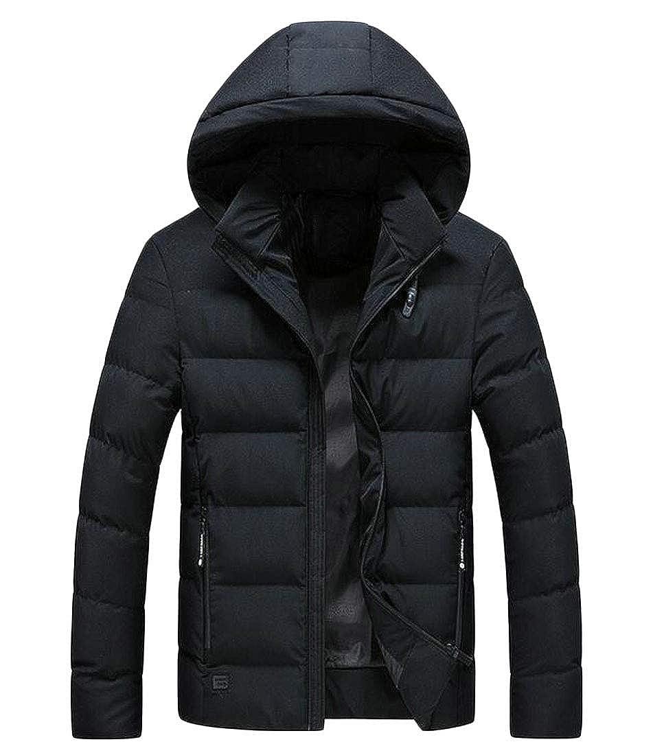 FRPE Men Long Sleeve Thicken Hoodie Zip-Up Padded Down Coats