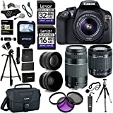 Canon EOS Rebel T6 DSLR Camera Kit (New Model for T5) - EFS 18-55mm - EF 75-300mm Zoom Lenses - Polaroid .43x Super Wide Angle - 2.2X HD Telephoto Lens - Canon Bag - Tripods - Memory Cards & Accessory Bundle