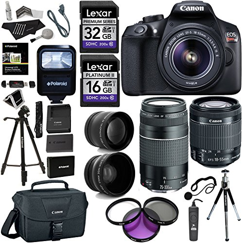 Canon-EOS-Rebel-T6-DSLR-Camera-Kit-New-Model-for-T5-EFS-18-55mm-EF-75-300mm-Zoom-Lenses-Polaroid-43x-Super-Wide-Angle-22X-HD-Telephoto-Lens-Canon-Bag-Tripods-Memory-Cards-Accessory-Bundle