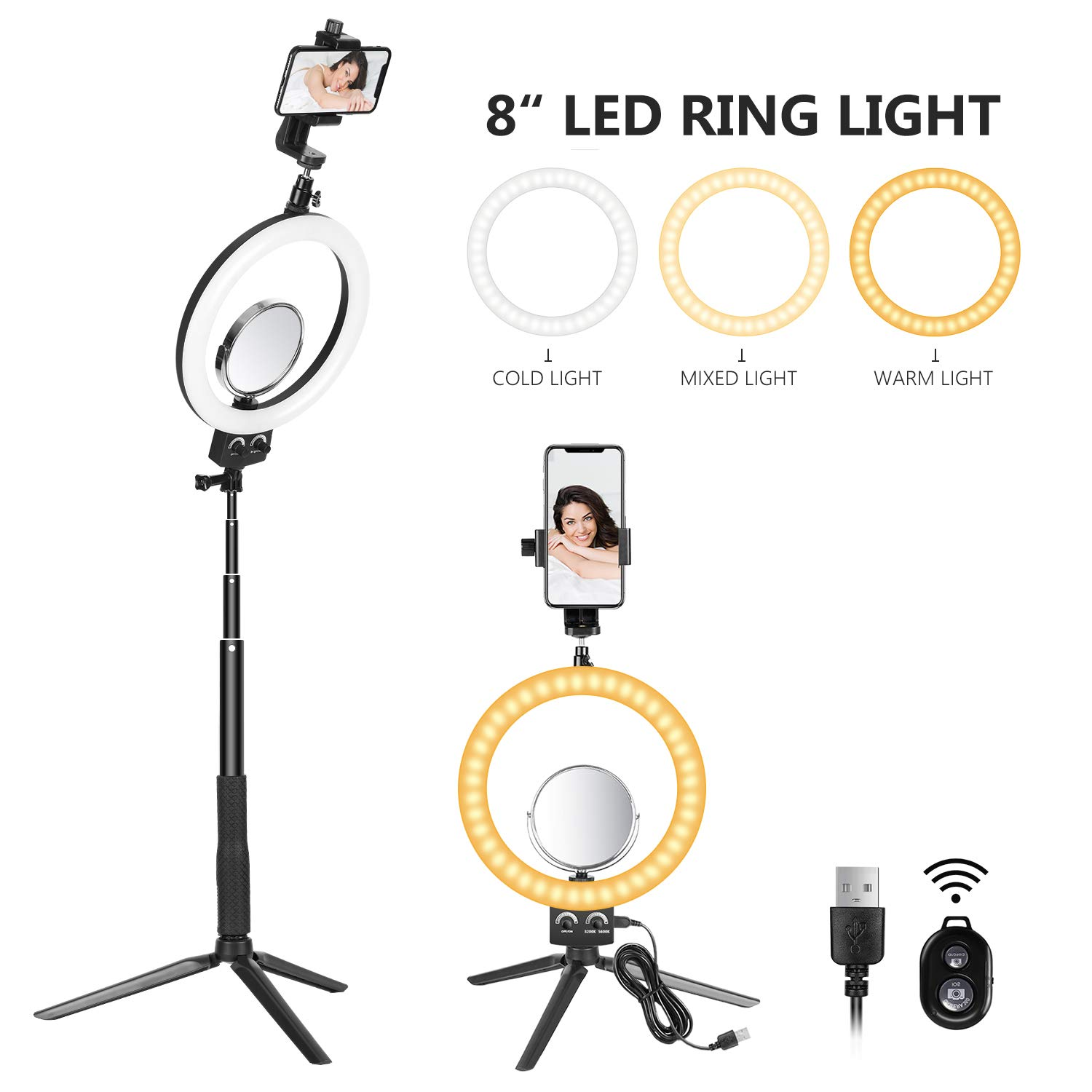 Neewer 8-inch LED Ring Light with Adjustable Tripod Stand Selfie Stick for YouTube Video Live Streaming Makeup Selfie, 3200-5600K Tabletop Lamp with Makeup Mirror/Mini Tripod/Phone Clamp,3 Light Modes