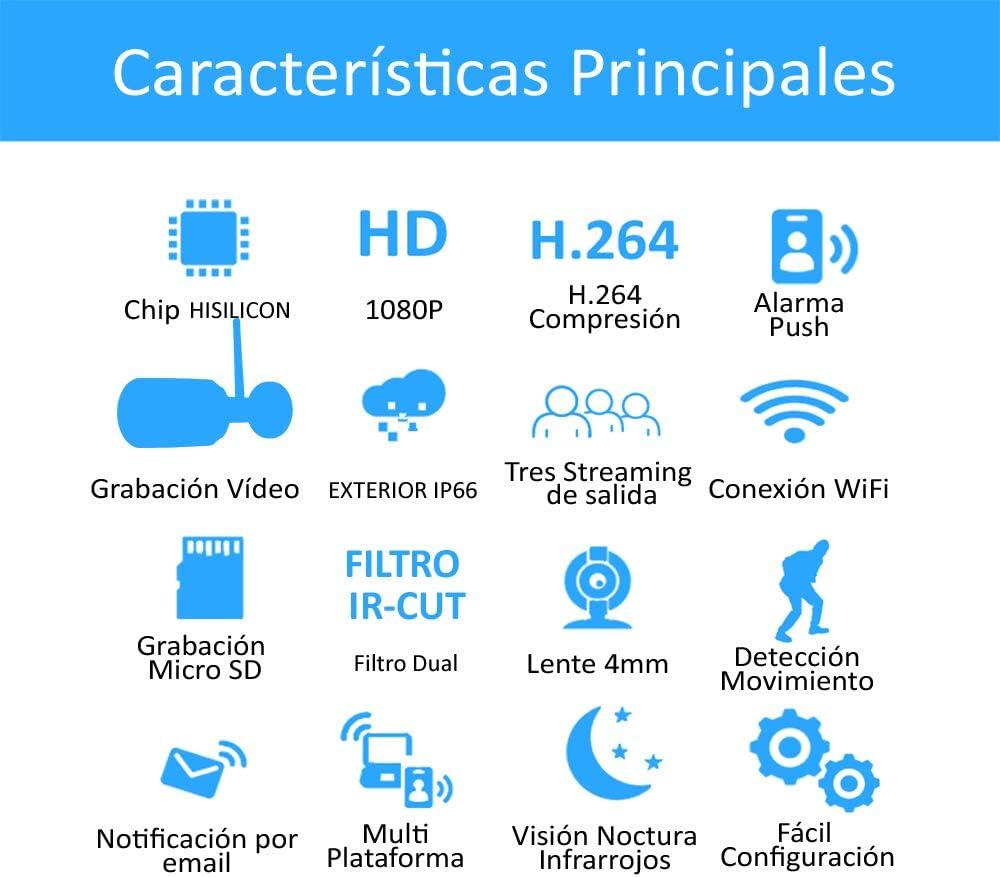C22P Camara IP 1080P Exterior visi/ón Nocturna Vigilancia C/ámara IP WiFi HD DIYTECH P2P, ONVIF Seguridad Detecci/ón Movimiento Compatible iOS y Android.