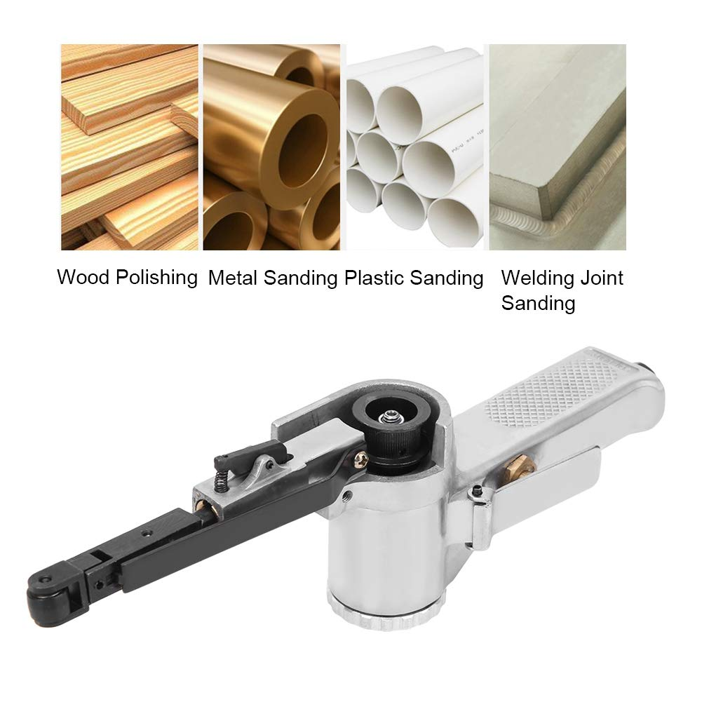 10mm pneumatischer Bandschleifer Luftbandschleifer industrielles pneumatisches Polierwerkzeug mit 3 Schleifb/ändern Luftschleifpoliermaschine f/ür M/öbel Holz Glas Metall