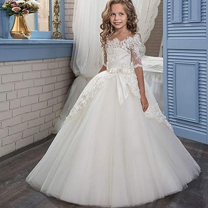 Vestidos formales de fiesta Blanco floral de encaje infantil princesa boda dama de honor retro medio