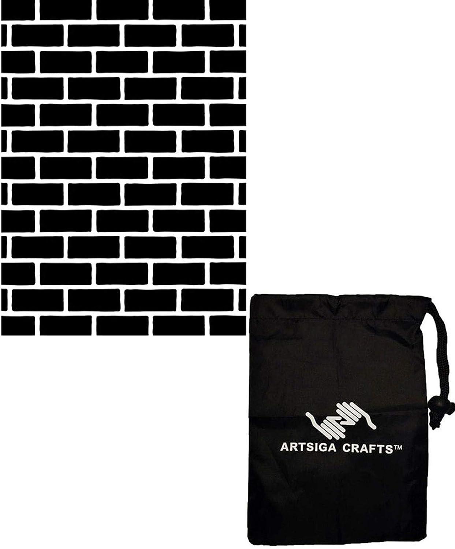 Darice DIY Crafts Supplies Embossing Folders for Card Making Brick 4.25 x 5.75 1218-108 Bundle with 1 Artsiga Crafts Small Bag