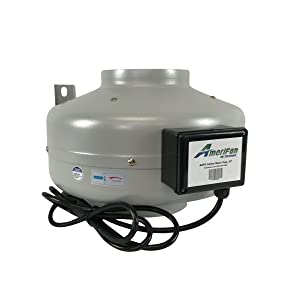 AmeriFan Duct Booster Exhaust, for Growing, Hydroponics, Heating, Cooling, Venting, HVAC, Steel, 120V Supply Voltage, 6 Inch, Fan Only
