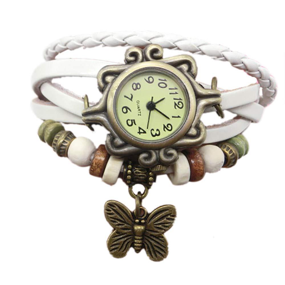 Pocciol Brown Retro Weave Wrap Lady Bead Butterfly Dangle Bracelet Bangle Quartz Wrist Watch (White)