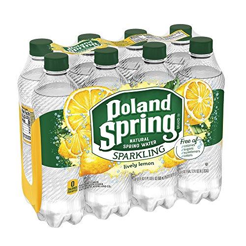 Poland Spring Sparkling Water, Lively Lemon, 16.9 oz. Bottles (Pack of 8)