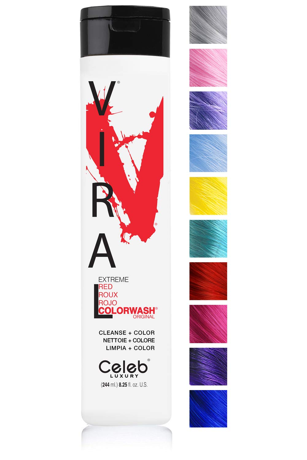 Celeb Luxury Viral Colorwash: Color Depositing Shampoo Concentrate, Vivid and Pastel Colors, Stops Fade, 1 Quick Wash, Cleanse + Color, Sulfate-Free, Cruelty-Free, 100% Vegan