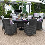 Maze Rattan Outdoor Garden Furniture LA 6 Seat 1.35m Round Table Grey Rattan Dining Set