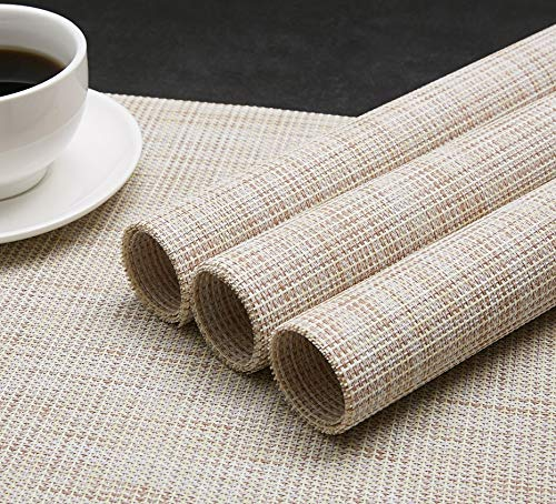 DOLOPL Placemat Placemats Waterproof Beige Placemats Set of 6 Crossweave Woven Vinyl Laminated Table Mat Easy to Clean Heat Resistant Wipeable Spring Placemats for Dining Table - ►Enviromental Meterial:The placemat is FDA approved eco-friendly kitchen accessories,these table placemats are made of high quality PVC and jelly, it's durable and waterproof better, non-fading. [Due to the influence of the waterproof film for the table mats, it's normal for the beige placemats to have an odor. Please place it for one day(it's better) after receiving the wipeable placemats.] ►100%Waterproof and Easy to Clean:the placemats' back of jelly, the kitchen table placemats are waterproof, also these stain proof placemats are easy to clean, just using the wet cloth or towel to wipe off when the table mats have some liquids, or go head to wash the Christmas placemats with soft brush after you finished a BBQ or meal time. ►Heat Resistant Placemats:these set of 6 placemats are heat insulation, resistant to combustion, acid-base, wear-resistant and has good warmth and elasticity. Please make sure your plates are ≤212℉(100℃),it's awsome to protect your wood, glass or other material table. - placemats, kitchen-dining-room-table-linens, kitchen-dining-room - 61mYFuklBjL -