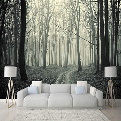 Murals,Custom 4D Wallpaper Landscape Style Foggy Forest Tree Trail Art Print Wall Painting Poster Picture Photo Hd Print For Tv Backdrop Bedroom Living Room Wall Decoration Large Silk Mural 160Cm(H)×
