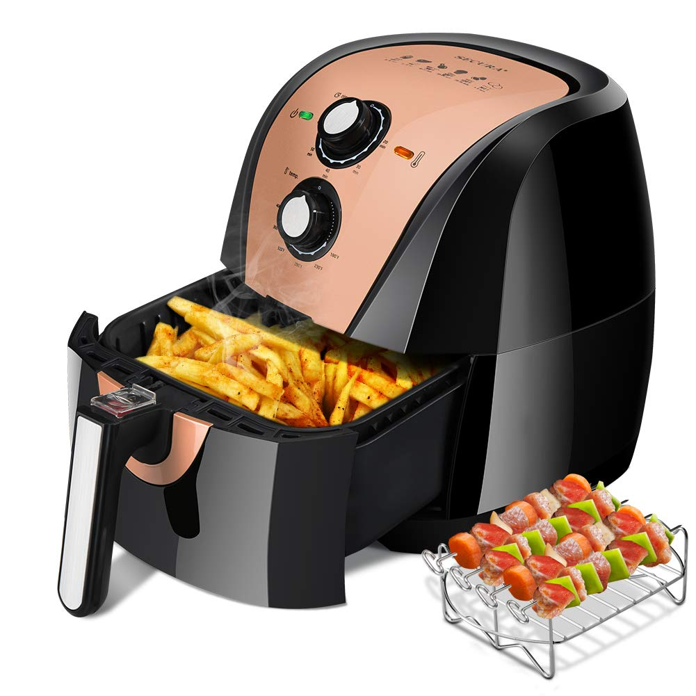 Secura Air Fryer XL 5.3 Quart 1700-Watt Electric Hot Air Fryers Oven Oil Free Nonstick Cooker w/Additional Accessories, Recipes, BBQ Rack & Skewers for Frying, Roasting, Grilling, Baking (Gold)