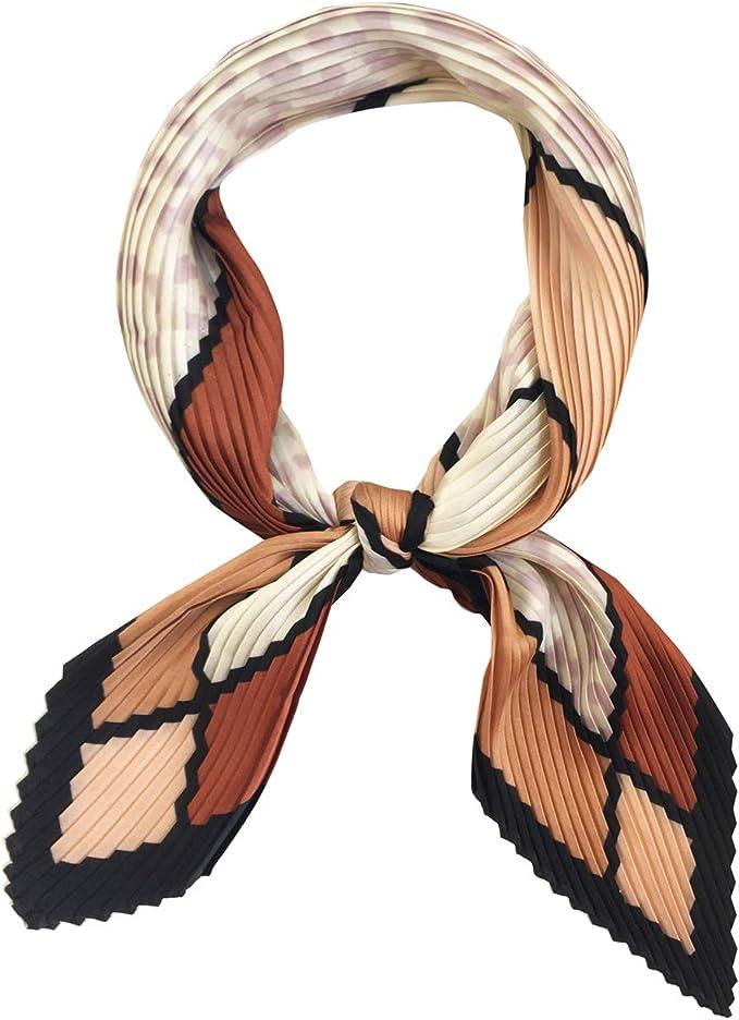 Vintage Scarves- New 1920s to 1970s Styles GERINLY Womens Neckerchief Pleated Plaid Silk Like Scarf Retro Spring Skinny Head Scarfs $8.99 AT vintagedancer.com