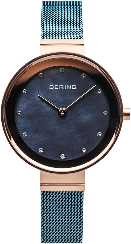 BERING Reloj Analógico para Mujer de Cuarzo con Correa en Acero Inoxidable 10128-368