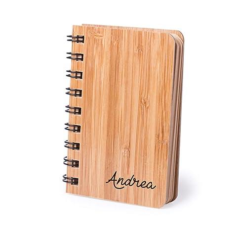 Libreta personalizada con tu nombre. Madera de bambú. Regalo ...