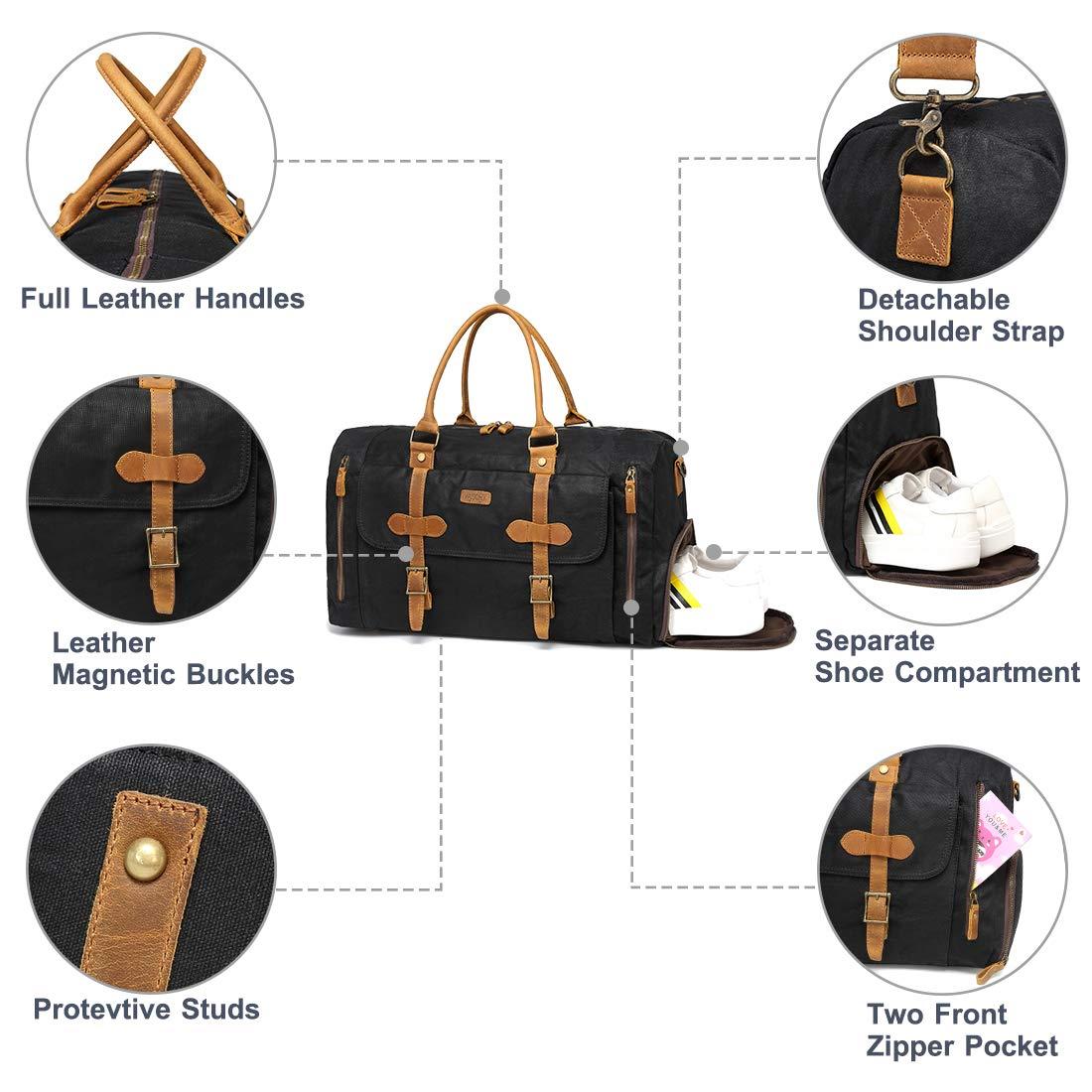 Bolsa de Viaje VASCHY Bolsa de Equipaje Bolsa de Fin de Semana Lona Bolsa de Trabajo Cuero con Compartimento para Zapatos 46 litros Equipaje de Mano de Holdall(Gris)