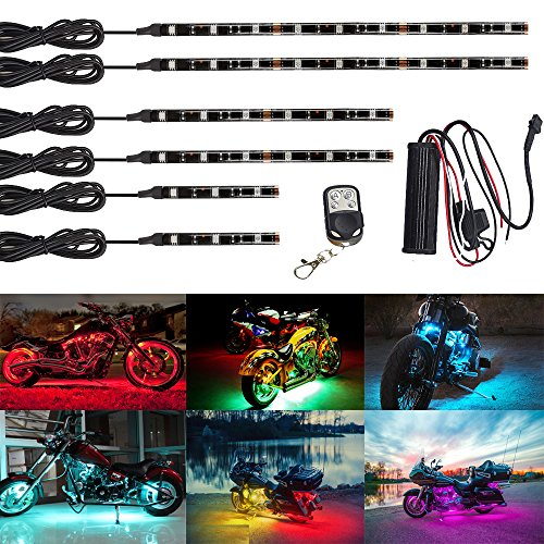 (NBWDY 6Pcs Led Light Kits Multi-Color Wireless Remote Control Motorcycle Atmosphere Lamp RGB Flexible Strips Ground Effect Light for Motorcycle)
