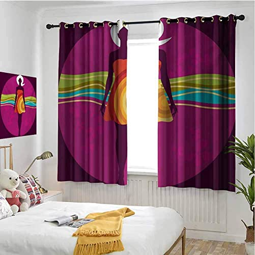 hengshu Youth Blackout Curtains for Bedroom Young Beauty in an Abstract Dress on Big Pink Dots Wavy Striped Border and Flowers Home Decor Blackout Curtains W72 x L84 Inch Multicolor