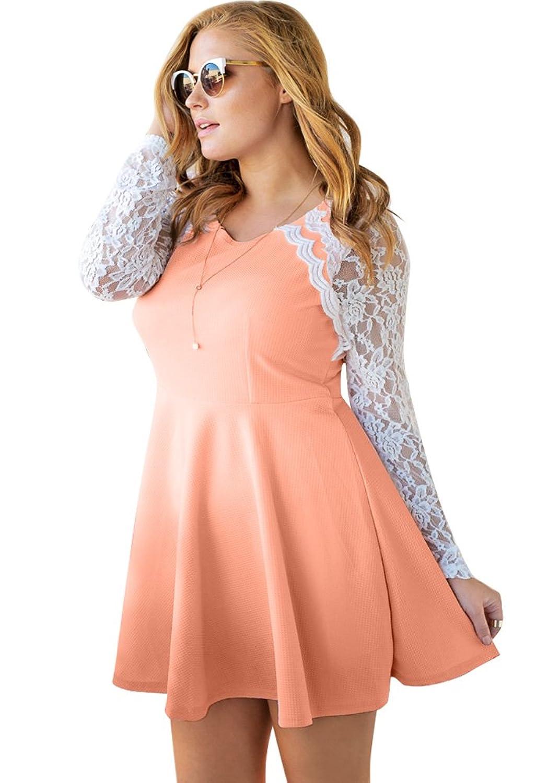 Lookbook Store® Damen Aprikosenfarbenes A-Linie Langärmliges Eislaufkleid mit Spitzenärmeln Einfarbig