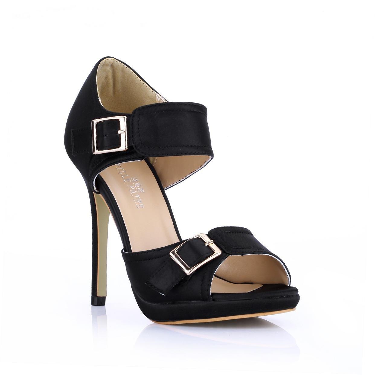 - Best 4Ureg; Frauen Sandalen Faux Silk Metall Schnalle Stiletto 12 CM High Heels Peep Toe Sommer Schuhe Schwarz