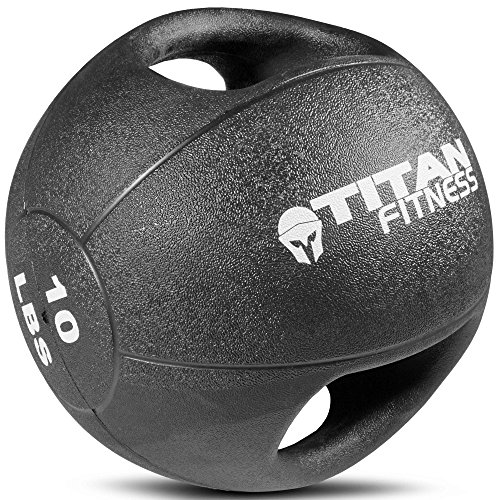 Titan Fitness 10 lb Dual Grip Medicine Ball Rubber Muscle Driver Sport Double