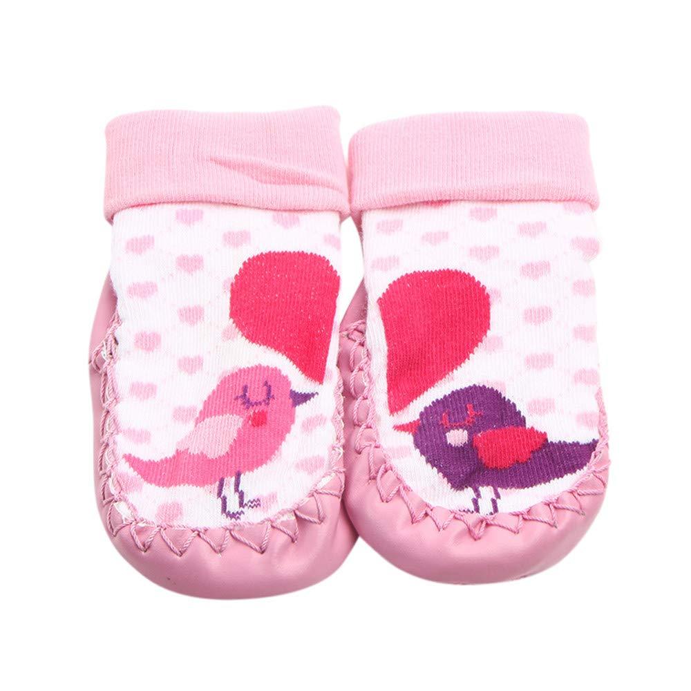 Inkach Clearance Baby Anti Slip Slipper Floor Socks Soft Bottom Booties Shoes Kids Non Slip Socks (1~12 Month, Pink)