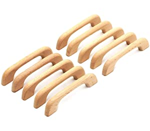 "WEICHUAN 10PCS Wood Unfinished Drawer Knobs Pulls Handles - Kitchen Cabinets Furniture Dresser Wardrobe Cupboard Drawer Knobs Pulls Handles(Total Length: 5"" Hole-to-Hole Distance: 4"")"