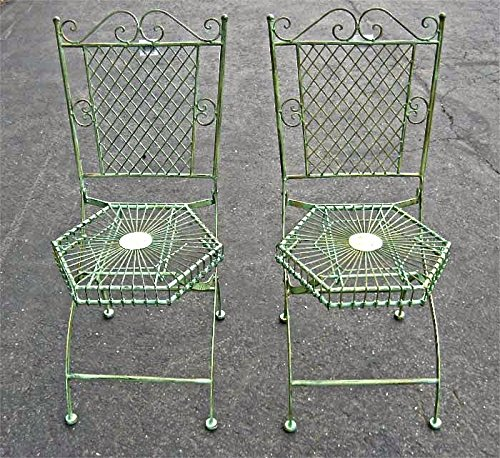 2 Folding Chair Garden Patio Set Hexagon Seat Antique Gre...