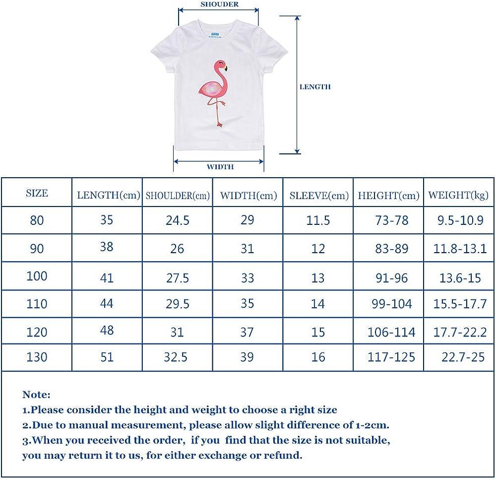 AMZTM T-Shirt f/ür M/ädchen Sommer Flamingos f/ür Baby kurz/ärmlig