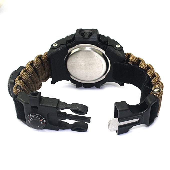 Amazon.com: Outdoor Survival Watch-Vovomay Bracelet with Flint Fire Starter Compass Whistle (C): Cell Phones & Accessories