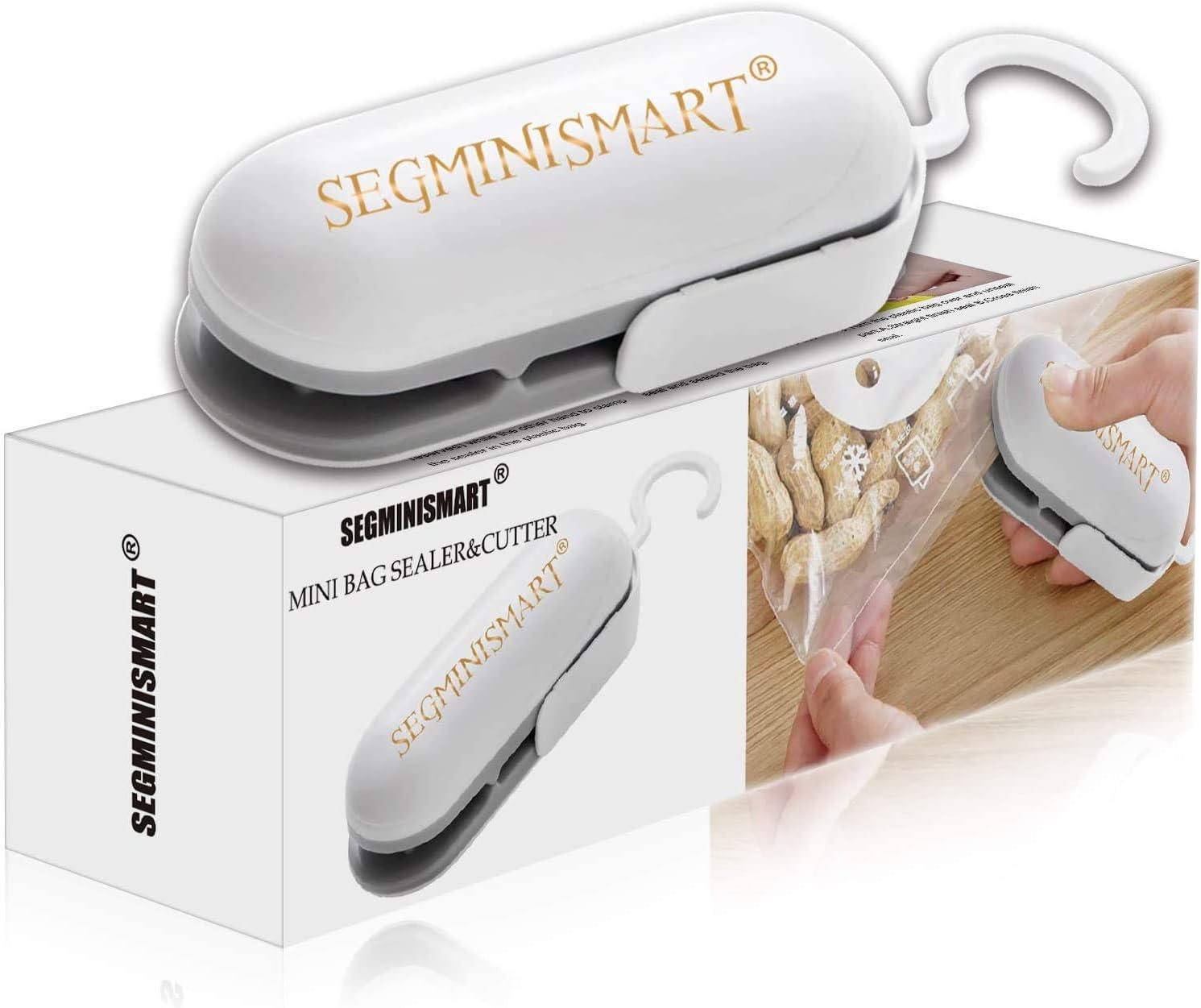 SEGMINISMART Mini Bag Sealer, Máquina de Sellado en Caliente portátil, Heat Sealer Machine, 2 in 1 Small Mini Portable Heat Sealer (Batería no incluida)
