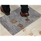 "SpuraDom Indoor Super-Absorbent Mud Doormat Latex-Free Non Slip Backing Machine Washable, 18""x 30"" Doormat – Dark Gray"