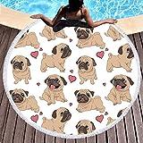 Sleepwish Round Pug Tapestry Animals Beach Roundie Cartoon Dog Beach Towel Super Soft Kids Red Heart Blanket Throws (Brown 1, 60 inch)