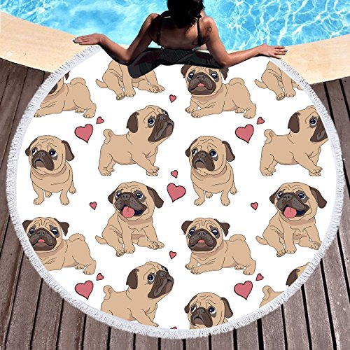 Sleepwish Round Pug Tapestry Animals Beach Roundie Cartoon Dog Beach Towel Super Soft Kids Red Heart Blanket Throws (Brown 1, 60 inch) by Sleepwish