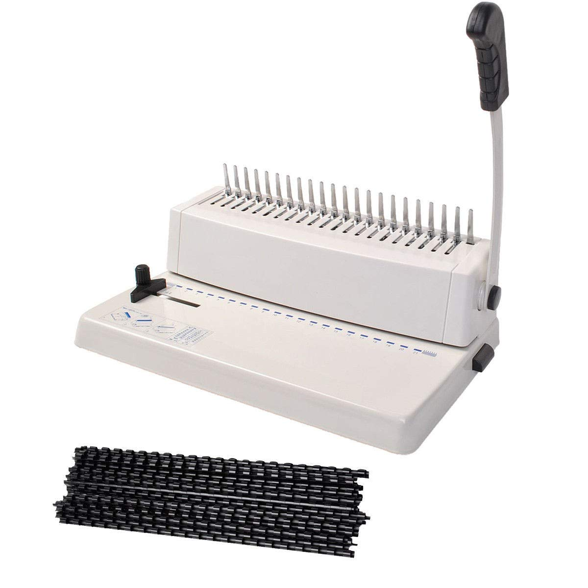 21-Hole 250 Sheets Paper Comb Punch Binder Binding Machine Scrapbook w/200 Combs Apontus