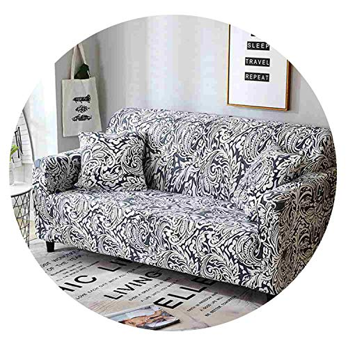 Petit couture Floral Printed Sofa Cover Slipcover for Living Room Elastic Converts Cover Tight All-Inclusive Lace Edge Pattern 1/2/3/4-seater,Onyx,Loveseat ()