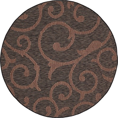 - Unique Loom Outdoor Collection Abstract Botanical Indoor and Outdoor Transitional Chocolate Brown Round Rug (6' x 6')