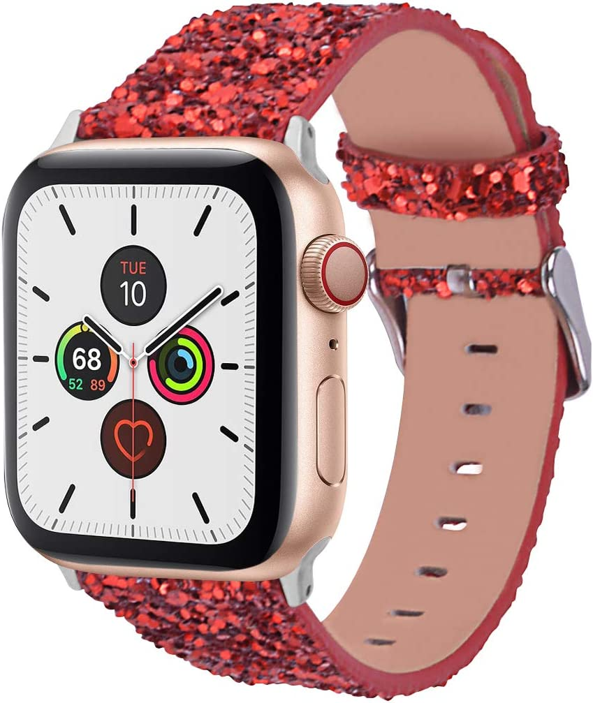 Wolait Compatible with Apple Watch Band 38mm 40mm Series 6/5/4/3/2/1/SE, iWatch Leather Glitter Sparkly Wristband Bracelet for Women (38mm/40mm Red)