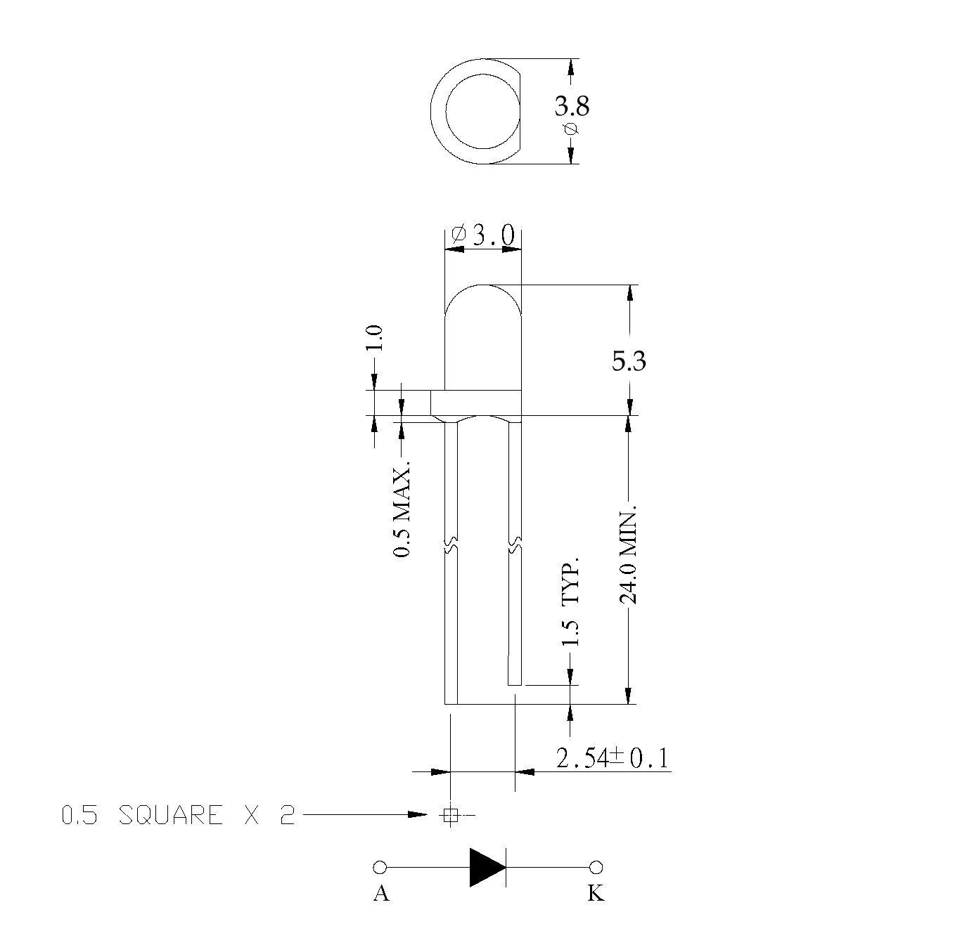 Electronics-Salon 50 PCS Diameter 3mm Normal Brightness Round Yellow LED