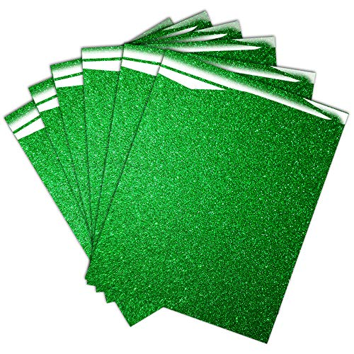 Green Glitter HTV Heat Transfer Vinyl for T-Shirt, 12 X 10, Easy to Weed and Made in Korea ( Pack of 6 )