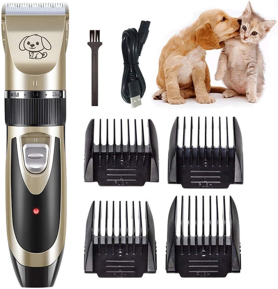 DOGCAT Cortapelos para Perros | Cortapelos Profesional para Mascotas | InaláMbrico Recargable de Bajo Ruido - Kit de Aseo para Mascotas | Cortapelos Perros Mascotas Gatos,Dorado,Set A