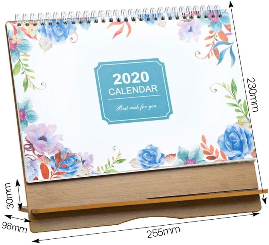 2020 Monthly Desk Pad Calendar,Wooden Desk Calendar,6.8x10.2 Large Monthly Wall Calendar Color : Blue