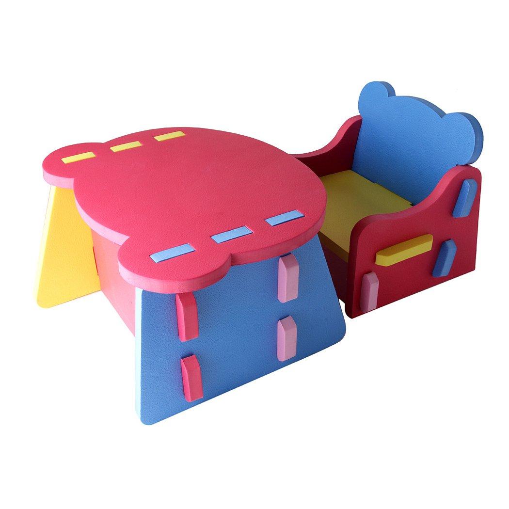 Juego de muebles para ni/ños con silla y mesa de goma EVA de f/ácil montaje de la marca Outgeek
