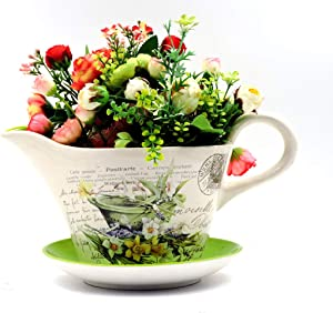 hadaaya gifts & home decor Beautiful Garden Themed Creamer Shaped Planter with Green Saucer Decorative, Shabby Chic, Floral Design, Ceramic Showpiece
