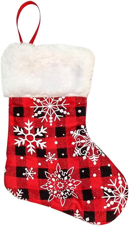 Christmas Tree Hanging Socks Stocking Candy Bag Xmas Decor Gift Solid Decor C Christmas Socks Kids