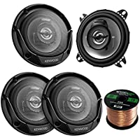 2 Pairs Car Speaker Package Of 4x Kenwood KFC-1065S 4 Inch 210-Watt 2-Way Black Sport Series Flush Mount Coaxial Speakers - Bundle Combo With Enrock 16g 50 Feet Speaker Wire