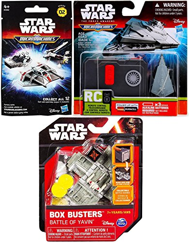 Star Wars The Force Awakens Micro Machines Blind Bag Pack + MicroMachines Control Ship First Order Star Destroyer & Box Busters Battle Yavin X-Wing & Tie-Fighter Mini Spaceship Set Action Play Pack