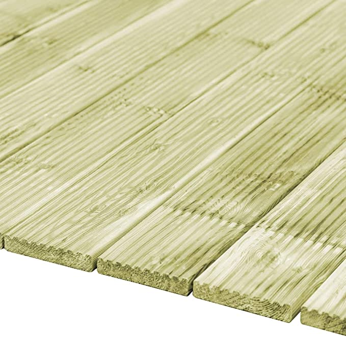 vidaXL 12x Gr/ün-impr/ägniertes Kiefernholz Terrassendielen Terrassendiele Komplettset Komplettbausatz Holzdielen Holz Bretter Diele Dielen 150x14,5cm